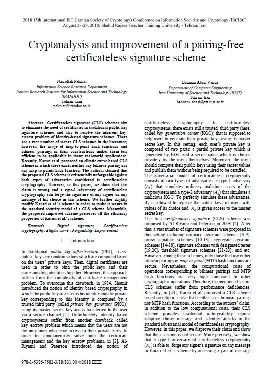 Cryptanalysis and improvement of a pairing-free certificateless signature scheme