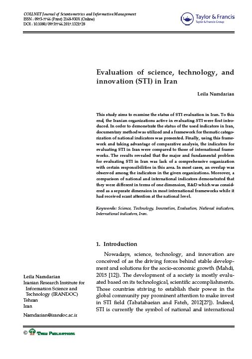 Evaluation of science, technology, and innovation (STI) in Iran