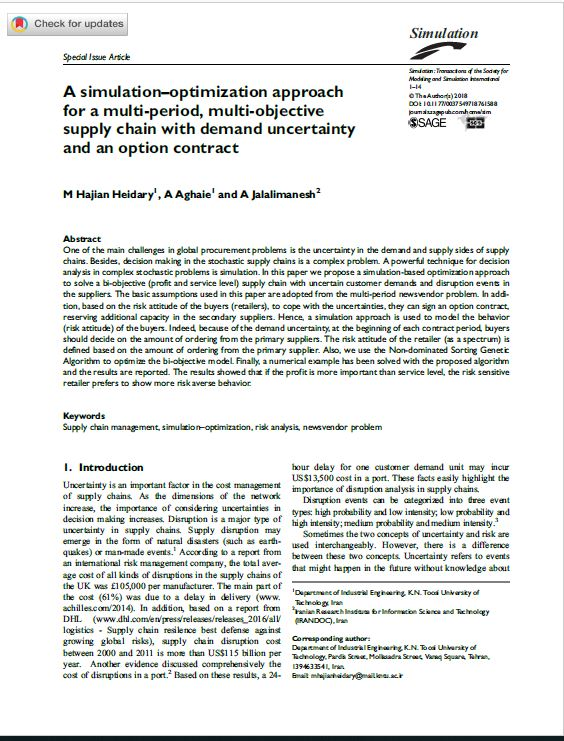 A simulation–optimization approach for a multi-period, multi-objective supply chain with demand uncertainty and an option contract