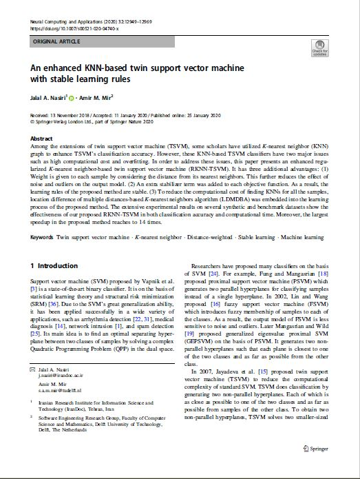 An enhanced KNN-based twin support vector machine with stable learning rules