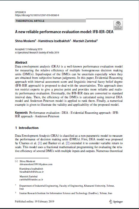A new reliable performance evaluation model: IFB‑IER–DEA