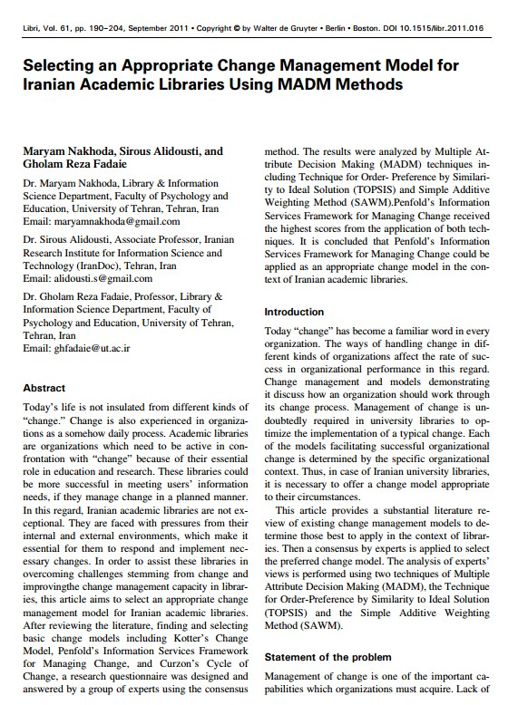 Selecting an appropriate change management model to the Iranian academic libraries using MADM methods