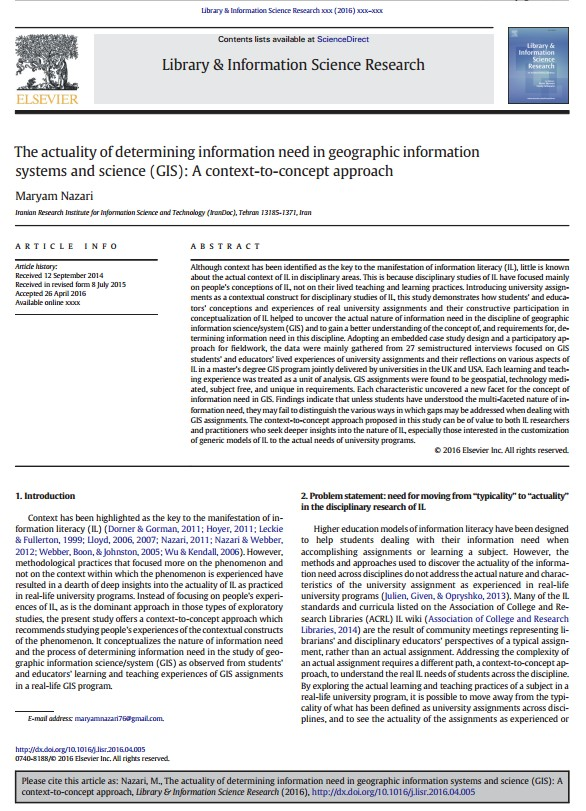 The actuality of determining information need in geographic information systems and science (GIS): A context-to-concept approach
