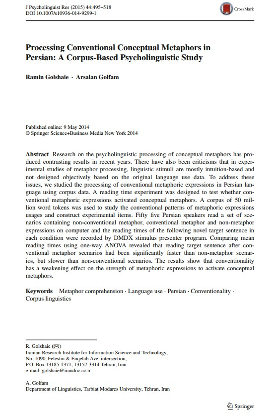 Processing Conventional Conceptual Metaphors in Persian: A Corpus-Based Psycholinguistic Study