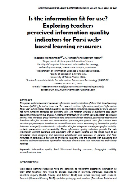 Is the information fit for use? Exploring teachers perceived information quality indicators for Farsi web-based learning resources