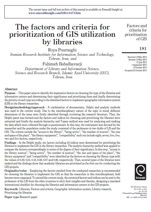 The factors and criteria for prioritization of GIS utilization by libraries