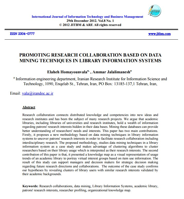 Promoting Research Collaboration Based on Data Mining Techniques in Library Information Systems