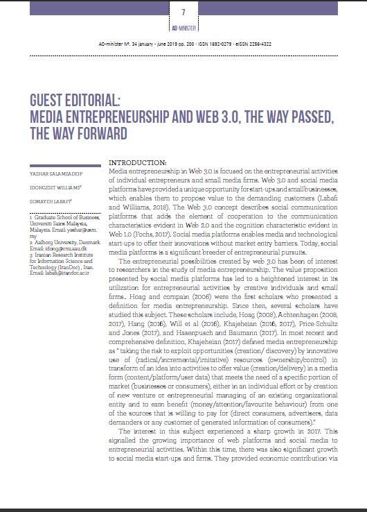Media Entrepreneurship and Web 3.0, the way passed, the way forward