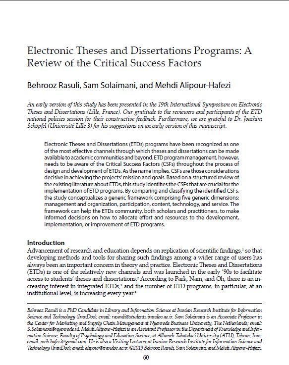 Electronic Theses and Dissertations Programs: A Review of the Critical Success Factors