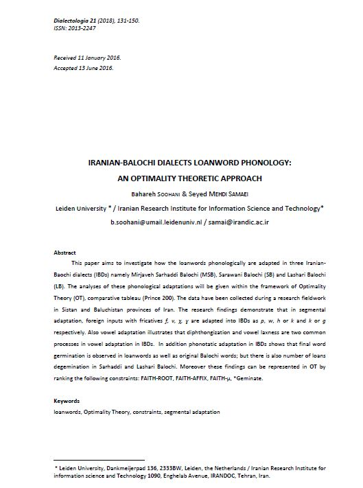 Iranian-Balochi Dialects Loanword Phonology: an Optimality Theoretic Approach