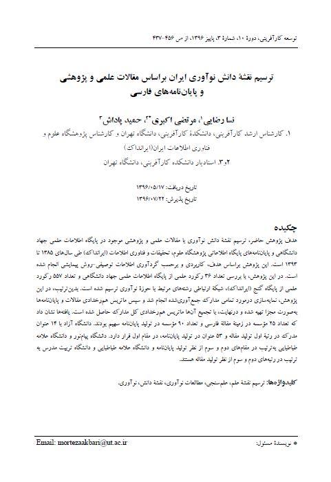ترسیم نقشه دانش نوآوری ایران براساس مقالات علمی و پژوهشی و پایاننامههای فارسی
