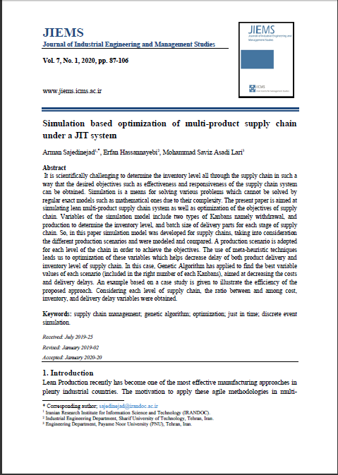 Simulation based optimization of multi-product supply chain under a JIT system