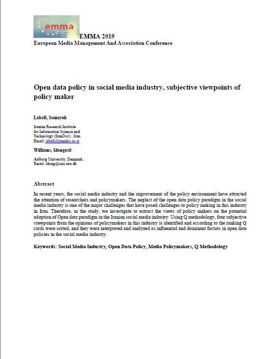 Open data policy in social media industry, subjective viewpoints of policy maker