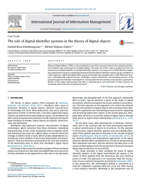 The role of digital identifier systems in the theory of digital objects