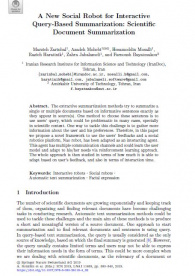 A New Social Robot for Interactive Query-Based Summarization: Scientific Document Summarization