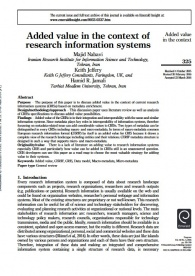 Added value in the context of research information systems