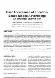 user acceptance of location based Mobile advertising: an empirical study in Iran