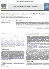 Prior Knowledge and Information– Seeking Behavior of PhD and MA Students