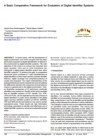 A Basic Comparative Framework for Evaluation of Digital Identifier Systems