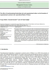 The effect of transformational leadership style and organizational culture on the formation of organizational cynicism in the Agricultural Bank of Tehran