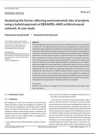 Analysing the Factors Affecting Environmental Risks of Projects Using Hybrid approach of DEMATEL-ANP, Artificial Neural Network: A Case Study