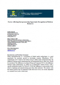 Factors Affecting Entrepreneurship Opportunity Recognition in Platform Businesses
