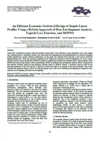 An Efficient Economic-Statistical Design of Simple Linear Profiles Using a Hybrid Approach of Data Envelopment Analysis, Taguchi Loss Function, and MOPSO