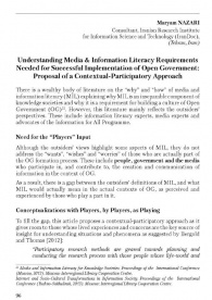 Understanding Media & Information Literacy Requirements Needed for Successful Implementation of Open Government: Proposal of a Contextual-Participatory Approach