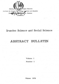 1349. Iranian Science and Social, Abstract Bulltein, Voume 1, Number1, Winter 1970
