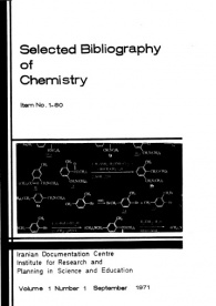 Selected Bibliography of Chemistry, Item No LBO, Volume 1, Number 1, September 1971